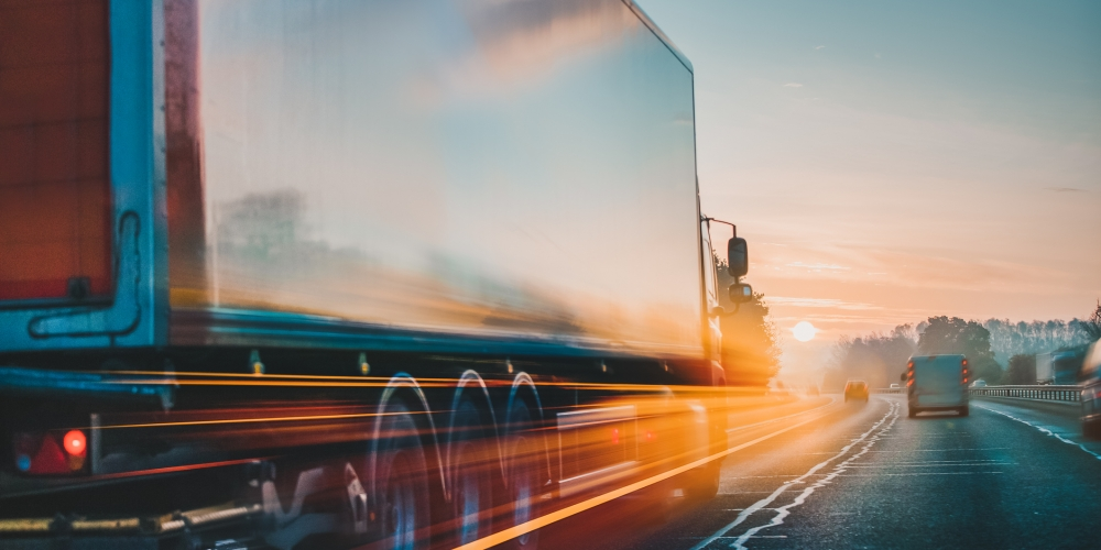 Lorry on motorway in motion