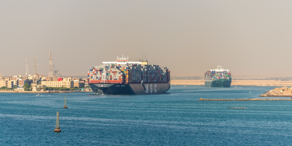 Traffic on the Suez Canal in Egypt