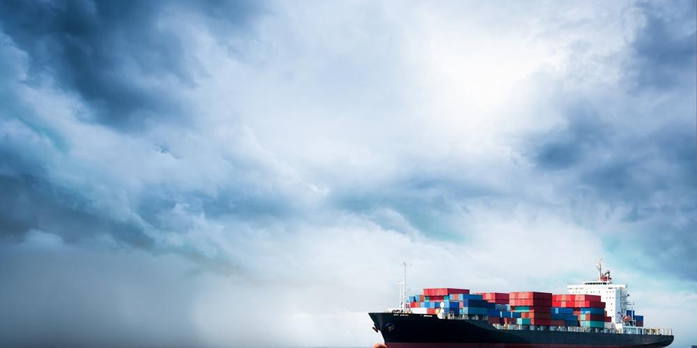 schip, container, boot, storm